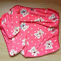 Плед одеяло из рваной махры полированной 95х115 см мишки розовый
