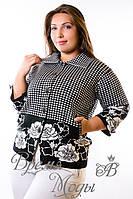 Чёрно-белая милая кофточка, с карманчиками на пуговицах. р. 48-54
