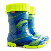 Детские резиновые сапоги Demar Twister Lux Fluo мозаика голубые р.20-35 мальчикам и девочкам