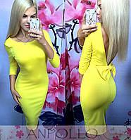 Женское стильное платье с бантом и с открытой спинкой (5 цветов)
