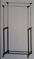 Стойка для одежды двойная на колесиках с полкой