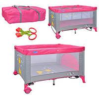 Манеж M 0525 детский, розовый, 2 колеса,качалка,2-й уровень,змейка