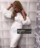 Гипюровое  миди платье с длинным рукавом