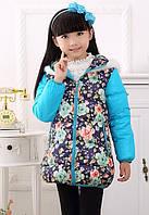Пуховик для девочки с цветами и меховой опушкой размер 116