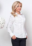 Женская офисная рубашка белого цвета с длинным рукавом из коттона, со скругленным низом.