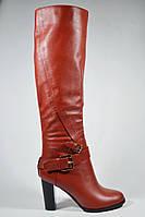 Зимние сапоги на каблуке Magnori красные кожаные