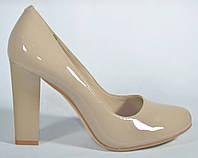Туфли женские на каблуке Magnori бежевые лакированные