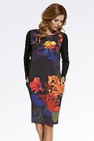 Женское разноцветное трикотажное платье с карманами прямого кроя. Модель 220075 Enny, осень-зима 2016-2017.