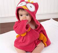 Банный короткий халат детский с капюшоном-зверюшка полотенце сова красная