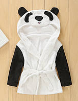 Банный короткий халат детский с капюшоном-зверюшка полотенце панда