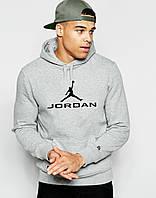Худи Jordan | Мужская толстовка | Кенгурушка серая,чёрный принт