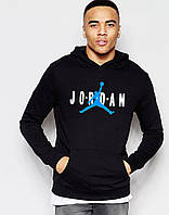 Худи Jordan | Мужская толстовка | Кенгурушка чёрная, голубой принт