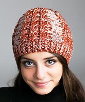 Зимняя женская шапка из меланжевой пряжи 896 (терракотовый-лен)