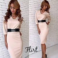 Женское стильное деловое платье до колен (5 цветов)