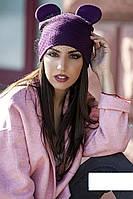 Женская стильная шапка с вуалью и ушками (7 цветов)