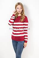 Кофта пуловер женская трикотаж бордо Полоска р.48