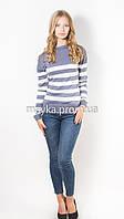 Кофта пуловер женская трикотаж джинс Полоска р.48
