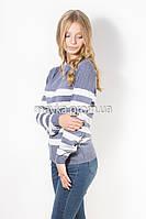 Кофта пуловер женская трикотаж джинс Полоска р.46