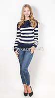 Кофта пуловер женская трикотаж темно-синяя Полоска р.46