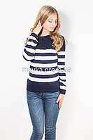 Кофта пуловер женская трикотаж темно-синяя Полоска р.48