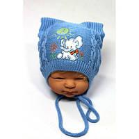 Вязанные шапки на мальчика осень весна 44-46 вышивка слоник акрил на завязках (цвета в ассортименте)