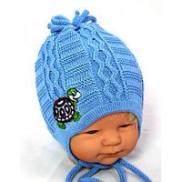 Вязанные шапки на мальчика осень весна 44-46 вышивка черепашка акрил на завязках (цвета в ассортименте)