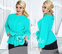 Элегантная бирюзовая блузка, к ней прилагается шарф
