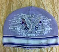 Хлопковая одинарная шапочка с бабочкой