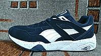 Кроссовки Puma Trinomic Пума Триномик  темно синие мужские подростковые замша натуральная