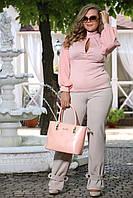 Блузка Парфюм пудра французский трикотаж , рукава сетка большого размера 48-72 батал