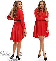 Красное платье асимметричное, пояс в комплекте. р. 48-50, 52-54
