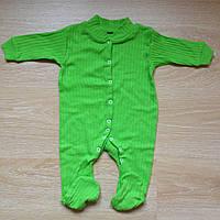 Человечек для новорожденного интерлок рубчик Капризуля 62/68 см зеленый