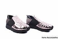 Туфли женские кожаные Euromoda (стильные, спортивные, комфортные, серебро)