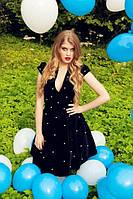 Эксклюзивное платье миди  расшитое жемчугом