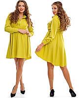 Горчичное платье с поясом, асимметричное. р. 48-50, 52-54