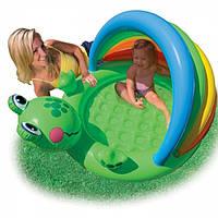 Детский надувной бассейн лягушка с надувным дном интекс Intex 114х99х69см