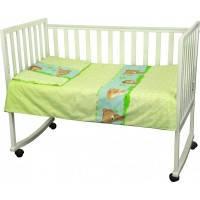 Постельный комплект Младенец - Ёжик в кроватку из 3 элементов (бязь), салатовый, Руно