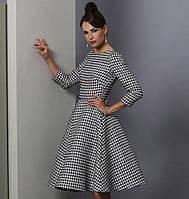 Платье миди  с расклешенной юбкой гусиная лапка