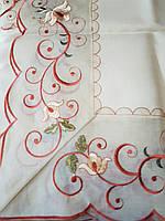Скатерть 220х150 искусственно лен с вышивкой