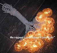 Ретро гирлянда 10 метров 15 ламп 40 Вт Е14 из декоративного стекла со светорегулятором