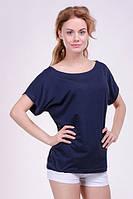 """Модная женская футболка """"Хулиганка"""",  однотон синий"""