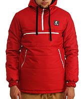 Куртка анорак подростковая мужская  зимняя Ястребь Красный