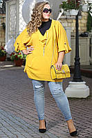 Модная теплая туника Инга желтый со змейками из ангоры большого размера 48-94 батал