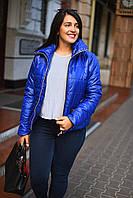 Женская короткая демисезонная куртка больших размеров с воротником-стойкой