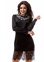 Изысканное вечернее платье из атласа с вышивкой и гипюром S M L XL