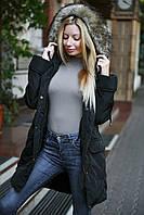 Женская демисезонная куртка-парка с искусственым мехом на капюшоне