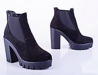 Женские замшевые ботинки, черные