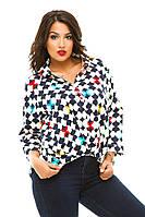 Женская коттоновая блузка-туника больших размеров
