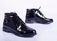 Женские лаковые ботинки на плоской подошве, от 36 до 41