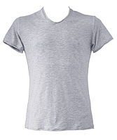 "Футболка мужская ""Ego"" Flamli закатанный рукав MTS-3 100% хлопок цвет серый меланж"